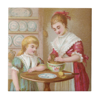 Victorian Mother and Daughter Baking Small Square Tile