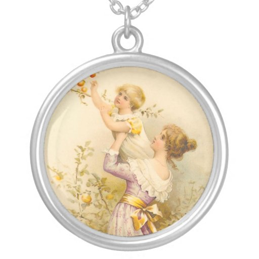 Victorian Mother and Girl Round Pendant Necklace
