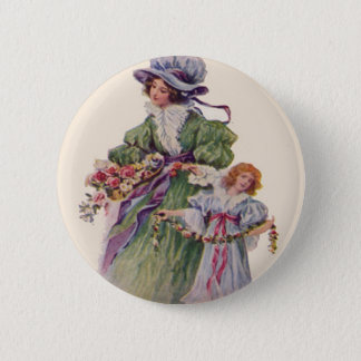 Victorian Mother & Daughter Flowers Mother's Day 6 Cm Round Badge