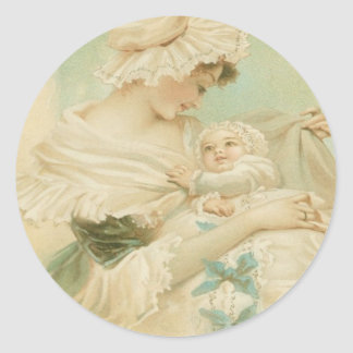 Victorian Mother Holding Child Mother's Day Card Classic Round Sticker
