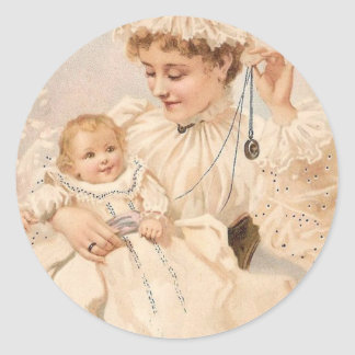 Victorian Mother With Child Mother's Day Card Classic Round Sticker
