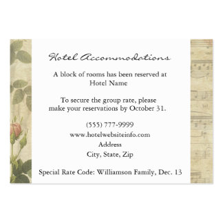 Victorian Music and Rose Hotel Accommodation Cards Large Business Cards (Pack Of 100)