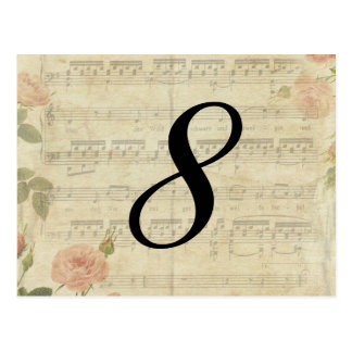 Victorian Music and Rose Table Number Card Postcard