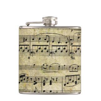 Victorian Music Sheet Wallpaper Hip Flask