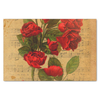 Victorian Music Sheet Watercolor Rose Wallpaper