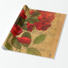 Victorian Music Sheet Watercolor Rose Wallpaper Wrapping Paper