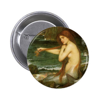 Victorian Mythology Art, Mermaid by JW Waterhouse 6 Cm Round Badge
