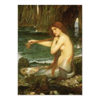 Victorian Mythology Art, Mermaid by JW Waterhouse 13 Cm X 18 Cm Invitation Card