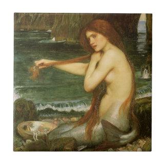 Victorian Mythology Art, Mermaid by JW Waterhouse Small Square Tile