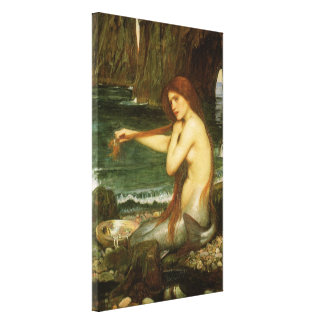 Victorian Mythology Art, Mermaid by JW Waterhouse Stretched Canvas Print