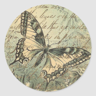 Victorian Natural Butterfly Collage Classic Round Sticker