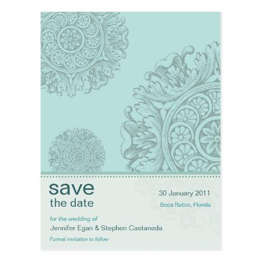 Victorian Ornamental Save the Date Postcard