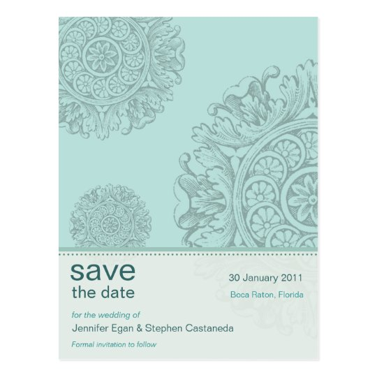 Victorian Ornamental Save the Date Postcard