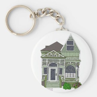 "Victorian ""Painted Lady"" - green Key Ring"