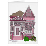 "Victorian ""Painted Lady"" - pink Greeting Cards"