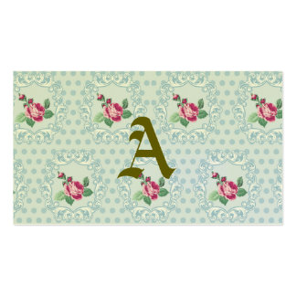 Victorian,pale blue,polka dot,pink roses,pattern, Double-Sided standard business cards (Pack of 100)