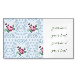 Victorian,pale blue,polka dot,pink roses,pattern, magnetic business cards (Pack of 25)