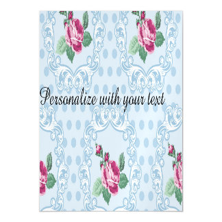 Victorian,pale blue,polka dot,pink roses,pattern, magnetic invitations