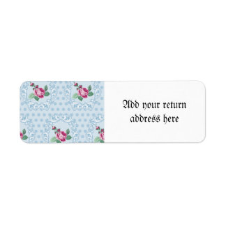 Victorian,pale blue,polka dot,pink roses,pattern, return address label