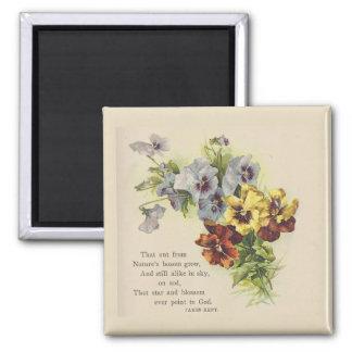 Victorian Pansies Flower Poem Magnet