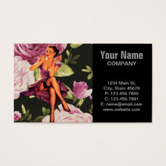 victorian Paris Botanical purple Rose Pin Up Girl Business Card