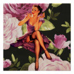 victorian Paris Botanical purple Rose Pin Up Girl Poster