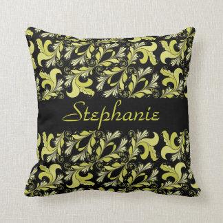 Victorian pattern, yellow, black, personalized cushion