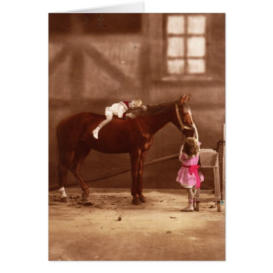 Victorian Photo: Adorable Children with horse Card