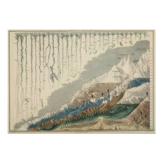 Victorian Pictorial Graph Of Rivers and Mountains Poster