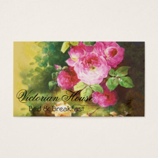 Victorian Pink Cabbage Roses Business Cards