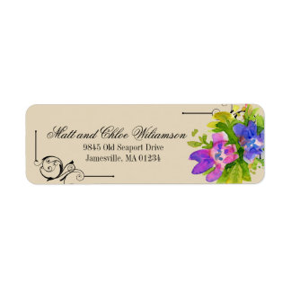 Victorian Pink Purple Floral Return Address Labels