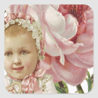 Victorian Pink Rose Baby Square Sticker