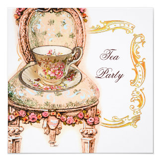 Victorian Pink Rose Tea Party Card
