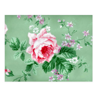 Victorian Pink Roses Postcard