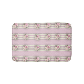 Victorian Pink Roses White Ecru Dots & Borders Bath Mat