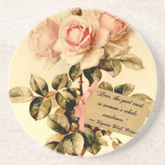 Victorian Pink Roses with Motivational Quote Beverage Coasters