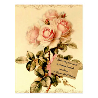 Victorian Pink Roses with Motivational Quote Postcard