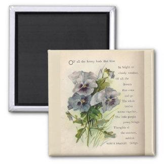 Victorian Poem Grey Purple Pansies Magnet