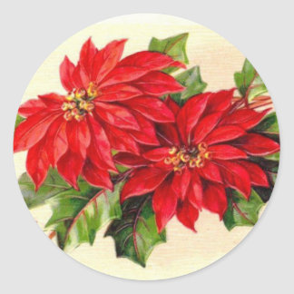 Victorian Poinsettia Christmas sticker