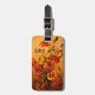 Victorian Poppies Painting Tags w/Custom Monogram