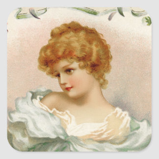 Victorian Portrait of a Young Woman Square Sticker