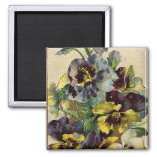 Victorian Purple & Yellow Pansies  Magnet
