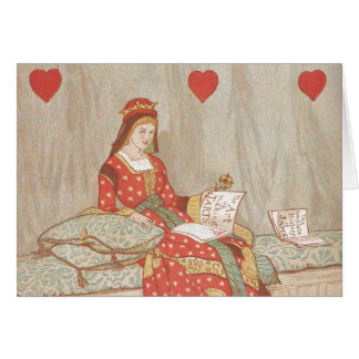 Victorian Queen of Hearts 1900's Valentine Greeting Card