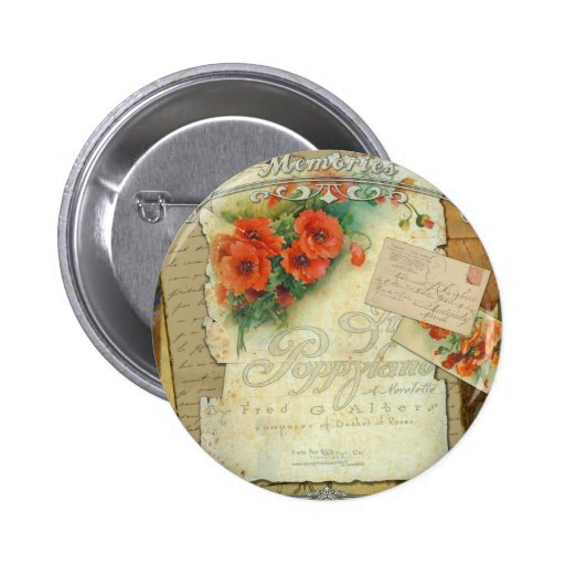 Victorian Red Poppies Memories 6 Cm Round Badge