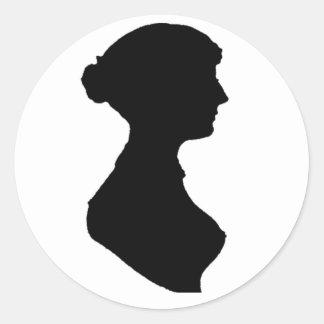 Victorian Regency Woman Silhouette Portrait Round Sticker