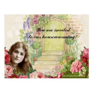 Victorian Romantic Painterly Roses Door Postcard