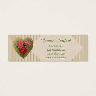 Victorian Rose Heart and Striped Linen Mini Business Card