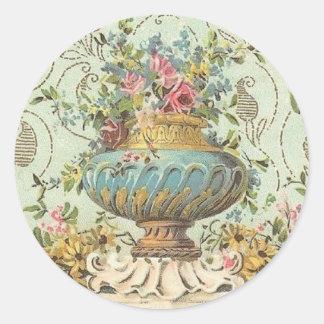 Victorian Rose Vase Round Sticker