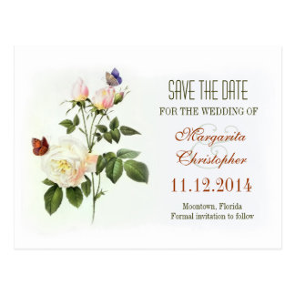 victorian rose white save the date postcards