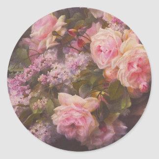 Victorian Roses and Lilacs Round Sticker
